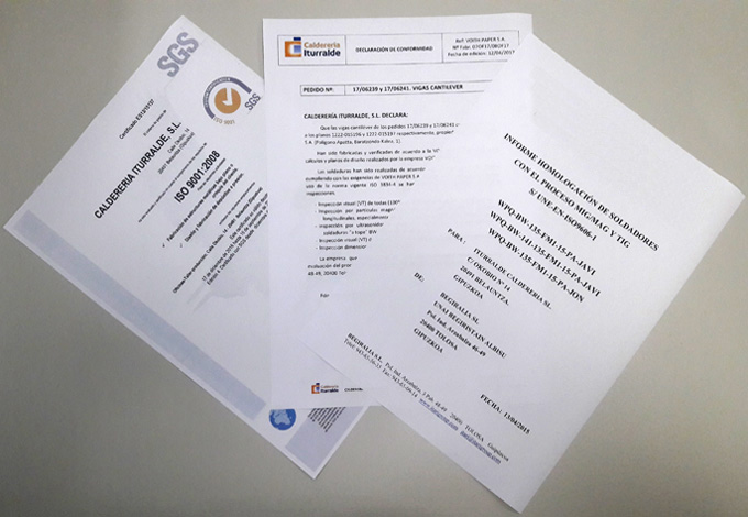 Certificados - Calderería Iturralde